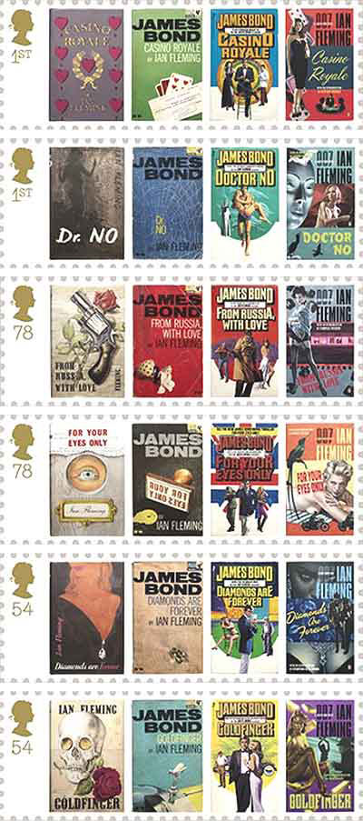James Bond Book Cover Stamps