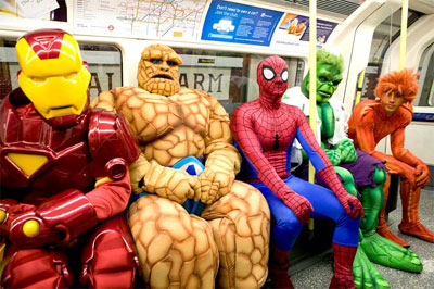 Ben Grimm rides the Tube.