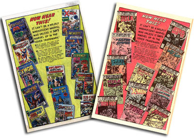 Marvel House Ads 1965 and 1980
