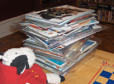 A huge stack of comics