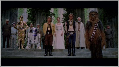 The end scene of Star Wars IV