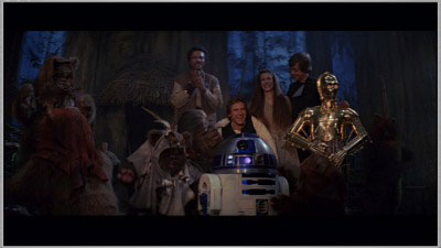 The end scene of Star Wars VI