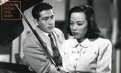 Toshiro Mifune and Shirley Yamaguchi in Akira Kurosawa's Scandal